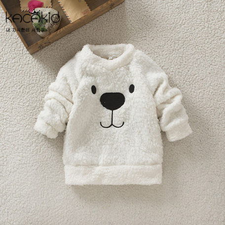 Kacakid winter children warm sweat Furry Bear Tops boys girls thicken velvet shirt kids cute soft coat baby cotton sweater 2