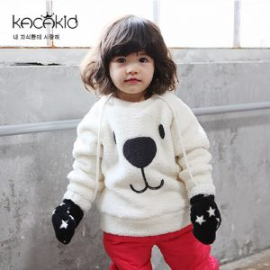Kacakid winter children warm sweat Furry Bear Tops boys girls thicken velvet shirt kids cute soft coat baby cotton sweater