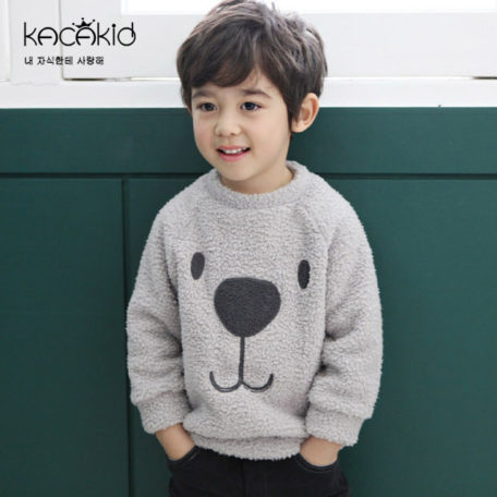 Kacakid winter children warm sweat Furry Bear Tops boys girls thicken velvet shirt kids cute soft coat baby cotton sweater 1